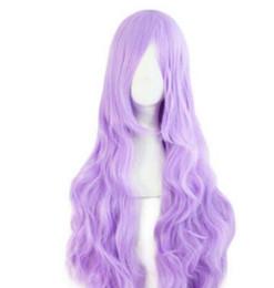 длинный светло-фиолетовый парик Скидка Женская мода светло-фиолетовый вьющиеся длинные аниме косплей парики P1