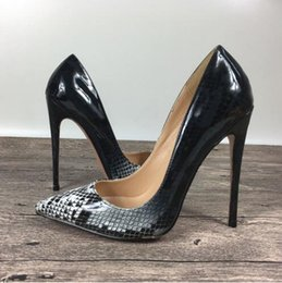 Wholesale Ms Pumps - New lady high heels snake pattern shallow shoes exclusive patent brand PU leather Ms. 8cm 10 cm 12 cm female model high
