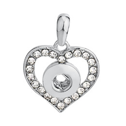 Wholesale Mini Heart Necklaces - Small Mini Rhinestone Stone Heart Snap Pendant replaceable Buttons Jewelry 18mm 20mm DIY Snap Buttons for Necklace Jewelry