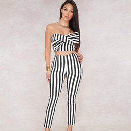 ae6554f21b7 2018 Women 2 Piece Outfit Sleeveless Striped bow crop Top Long Pant black  white sexy jumpsuit romper club party bandage overalls