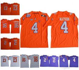 Hombres Clemson Tigers # 4 DeShaun Watson 16 Trevor Lawrence 13 Hunter Renfrow 2 Kelly Bryant Orange White Purple Fútbol Fútbol Jerseys desde fabricantes