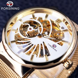 Wholesale Hand Watch Waterproof - Forsining 2018 Luxury Golden Skeleton Neutral Design Women Mens Watches Top Brand Luxury Stainless Steel Waterproof Wristwatches