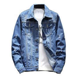 d92887bdee9 2017 New Blue Cotton Men s Denim Jackets Fashion Teen Casual Coats Slim and  Comfortable Large Size Men Hole Jacket S M L XL 5XL