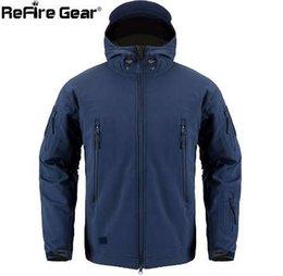 59bf4844c891 2019 giacca di esercito blu navy ReFire Gear Navy Blue Soft Shell Giacca  militare da uomo