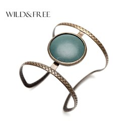 Wholesale Vintage Jewelry India - Vintage Boho Ethnic Simulated Big Stone Open Cuff Bangles For Women Fashion Statement Open Infinity Bracelets India Jewelry Gift