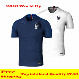 Wholesale Cup Teams - New 2018 France World Cup jerseys POGBA GRIEZMANN PAYET KANTE Mbappe Football t shirts 18 19 France National Team home away Soccer Jerseys