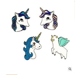 Wholesale horse gifts free shipping - Horse Unicorn Brooch Button Pins Coat Jacket Pins Badge Women Men Cartoon Animal Jewelry Gift for Children DHL Free Shipping