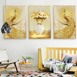 Wholesale Art Decor Peacock - Nordic creative golden peacock Canvas Painting Wall Art Print Painting Decorative Wall Pictures Living Room Decor No Frame
