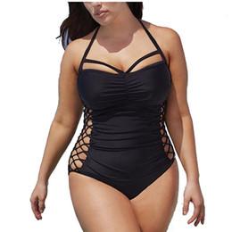 Wholesale xxl monokini - 5XL Plus Size Swimwear Women One Piece 2018 Push Up Swimsuit Bandage Swimming Suit For Women Monokini Swim Suits Sexy Bathing