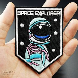 Wholesale I Stickers - space explorer NASA i want to leave UFO space pilot airforce DIY Cloth Iron On Patch Embroidered Applique Sewing Clothes Stickers free ship