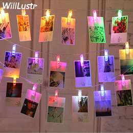 Wholesale christmas garland photos - LED Card Photo Clip Led String Fairy Lights Garland New Year Christmas Decoration lamp Battery power Decorative Light For Wedding colorful