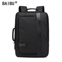 Wholesale Man Satchel Bags - BAIBU 2018 NEW Men Backpack Waterproof Letters Big USB Charging School Bags For Teenagers Student Travel Laptop Backpack