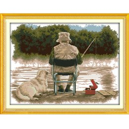 Wholesale Chinese Fishes - The Fishing Canvas DMC 11ct 14ct Counted Chinese Cross Stitch Kits printed Cross-stitch for Embroidery Home Decor Needlework