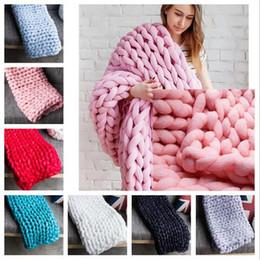 merino lã tricô Desconto 8 Cores 80 * 100 cm Chunky Malha Cobertor De Lã Merino Handmade Cobertor Sofá Ar Condicionado Cama De Malha De Fotografia Cobertores CCA8465 3 pcs