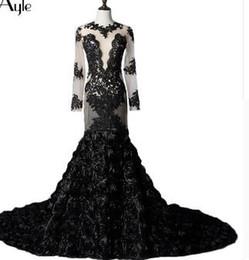 Фотографии black rose онлайн-SoAyle Русалка с длинными рукавами Черное кружево Роза Реальные фото Вечерние платья с открытой спиной Тюль Sexy Vestidos De Festa Robe De Soiree