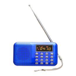 Radio recargable mp3 online-Mini Radio FM Portatile Digitale Altavoz USB Micro SD TF Tarjeta Mp3 Música Lettore AZUL