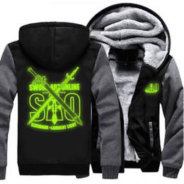 Wholesale jacket women online - USA size Men Women Sword Art Online SAO Luminou Coat Zipper Hoodie Winter Fleece Unisex Thicken Jacket Sweatshirts Clothing