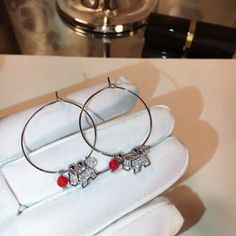 Wholesale Ladies Sterling Silver Earrings - Puppy Red Ball Pendant Hoop Large Circle Earring Young Lady Fashion Cute Lovely 925 Silver All Matching Style