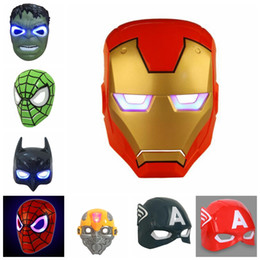 Canada LED Glowing Light Masque héros SpiderMan Capitaine America Hulk Iron Man Masque Pour Enfants Adultes Noël Halloween Fête D'anniversaire masque GGA936 cheap iron man birthday party Offre