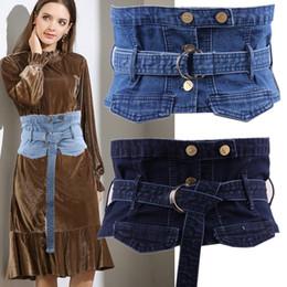 100% cotone denim Slimmin per le donne abiti vintage blu ampia cintura  femminile Jeans casual Cummerbunds Ceinture Femme jeans vintage vestito in  vendita 13ed1991601