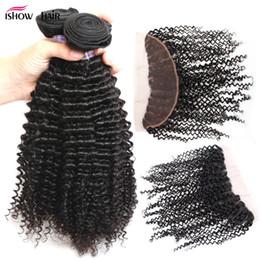 extensões de cabelo encaracolado indiano virgem Desconto Brasileira Peruvian Malaio Indiano Virgem cabelo kinky curly 3 Pacotes com 13x4 lace frontal encerramento Grau 10A extensões de Cabelo Humano