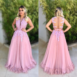 Wholesale Floor Spot Lighting - Pink Lace A Line Appliques V Neck Evening Dresses 2018 Vestido De Festa Beaded Pearls Long Sleeveless Buttons Spot Skirts Prom Gowns