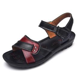 7fb0cbb30885 Women sandals genuine leather flat sandals women 2018 new summer beach shoes  woman comfortable mother