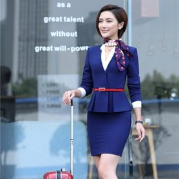 Wholesale Ladies Blazers Designs - Formal Blue Blazer Women Skirt Suits Work Wear Sets Ladies Business Suits Office Uniform Designs (Scarf and Belt are Included)