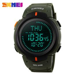 Wholesale World Time Alarm Clock - SKMEI Compass Men Digital Wristwatches World Time Alarm Calendar Male Clock Waterproof Relogio Masculino Man Sports Watches 1231