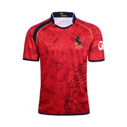 New Men Espana camisas de Rugby, espanha Rugby Jersey T-shirts, Tops Qualidade Respirável Respirável SportWear Vermelho S-3XL Frete grátis de