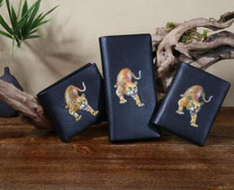 Wholesale Chinese Hand Cream - Brand 100% Original Genuine Leather Chinese Style The Tiger Totem Hand painted Leathe Wallet Handwork men Wallet