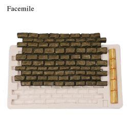 Wholesale wall decoration bricks - wholesale Wall Stone Silicone Mold Brick Wall Pattern Baking Fondant Mold Cake Decoration Tool Chocolate Gumpaste Sugarcraft Mold