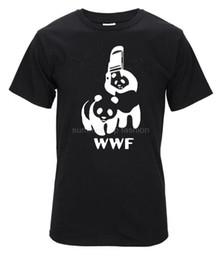 Wholesale free comedy - Free Shipping WWF Wrestling Panda Comedy Short Sleeve Cool Camiseta T Shirt Men Camisetas T Shirt Unisex