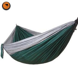 Wholesale Fabric Double Hammock - Camping Hammock, Portable Parachute Nylon Fabric Travel Ultralight Camping Double Wide Outdoor Travel(Gray+Dark green)