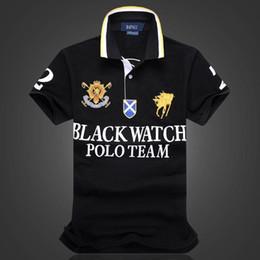 Polo rayure blanche en Ligne-Réduction Polo Shirt 100% Coton Manches Courtes Hommes Polos Sport BLACK WATCH POLO TEAM BLEU ROUGE BLANC NOIR RAYURES S M L XL 2XLDropship