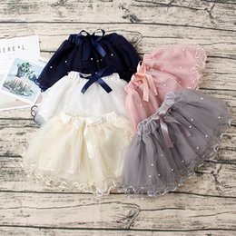 Wholesale Dance Performance Clothes Kids - Baby Girls Skirts Princess Tutu Skirts Dance Party Performance Mini Skirt Cute Bow Pearl Kids Girl Skirt 5 Colors for 2-7T Children Clothing