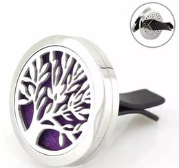 Wholesale Car Air Condition - Car Perfume Clip Tree of Life Magnet Diffuser 30mm Stainless Steel Car Air Freshener Conditioning Vent Clip