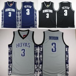 Wholesale gray basketball jersey - Georgetown Hoyas College 3 Allen Iverson Jersey University Tean Black Blue Gray Allen Iverson Basketball Jerseys Shirt Uniform