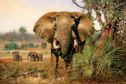 Wholesale Elephant Oil Canvas Painting - Modern Home Deco High Quality HD Print animal Oil painting canvas African Landscape Elephant Classical Reproduction Home wall Art Decoration