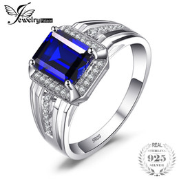 Wholesale 925 mans ring sapphire - wholesale Luxury 4.6ct Created Blue Sapphires Wedding and Engagement Ring For Men Genuine 925 Sterling Sliver 2016 New