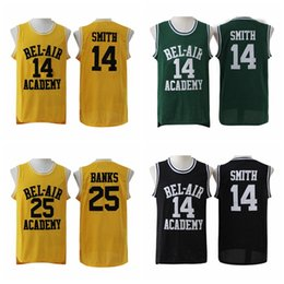 Wholesale Princes Gold - The Fresh Prince OF BEL-AIR 14 Will Smith Jersey 25 Carlton Banks Movie Stitched Yellow Black Green BEL AIR Basketball Jerseys College Sale