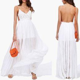 Wholesale Cut Out Maxi - Free shipping Women lace dress formal cut out wedding maxi crochet backless gauze new