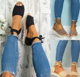 Wholesale Adhesive Rings - 2018 new women's foot ring strap flat heel thick rope breathable sandals