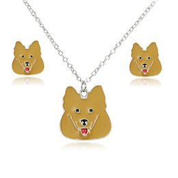 Wholesale 3pcs oil painting - 3pcs set lovely dog oil painting jewelry sets kits for women girl animal decorations earrings necklaces dog necklace earrings set