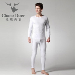 Wholesale Browning Deer Shirt - Quality Long Johns Men Cotton Underwear New Brand Chase Deer Winter Warm Tees+Pants set Fashion Slim Fit Casual Men Long Johns