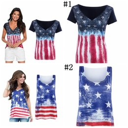 Wholesale American Flag Shorts Women - Women American Flag Loose 4th Of July short sleeve T-shirt Tops Blouse Plus Size 10pcs YYA1056