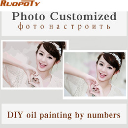 Wholesale Family Sheet - Wholesale-Personality Photo Customized Your Own DIY Oil Painting By Numbers Picture Drawing Canvas Portrait Wedding Family Children Photos