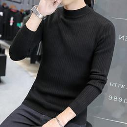 02d800ec3 2019 meia camisa turtleneck homens meia camisola de gola alta camisola de  malha 2018 outono camisa