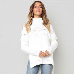 8d30c823e6 Cable Knit Oversized Sweater White Turtleneck Women Tassel Sweater Winter  Women Baggy Warm Sweater Woman Jumper Sweaters Ladies
