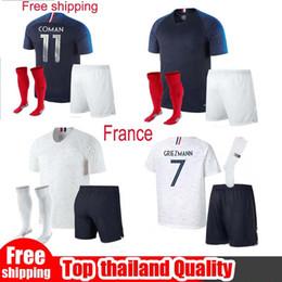 Wholesale Cups Sets - 2018 19 France Soccer sets France Adult kit World Cup jerseys POGBA GRIEZMANN KANTE Mbappe Football t shirt National Team home away Jerseys